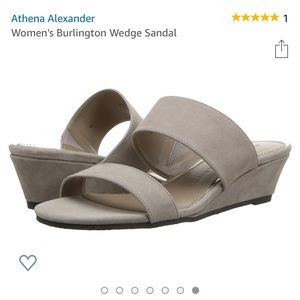 NWT sz 6.5Athena Alexander grey suede wedge slide